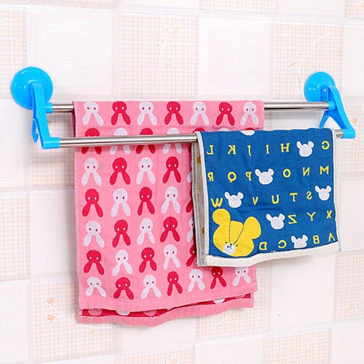 Творческий Ванная комната, без швов, двойной крючок Полотенца стойки сильный для полотенец, на присоске стержень пробивка отверстий