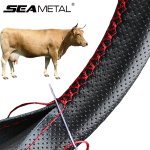 Image 1 - Genuine Leather Steering Wheel Cover with Needles and Thread DIY Braid Car Steering Wheel Cover Suitable For Diameter 37 38cm