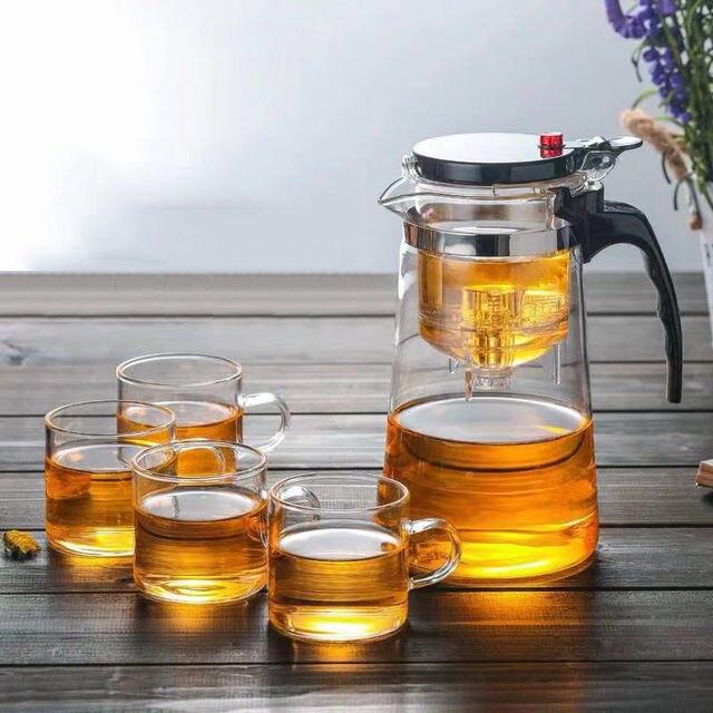 Théière en verre résistant à la chaleur, tasses de thé, 5