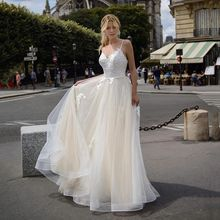 Tulle  A Line Prom Dresses Sweetheart Sleeveless Spagetti Straps Lace Appliques Tiered Formal Wedding/Evening Party Gowns