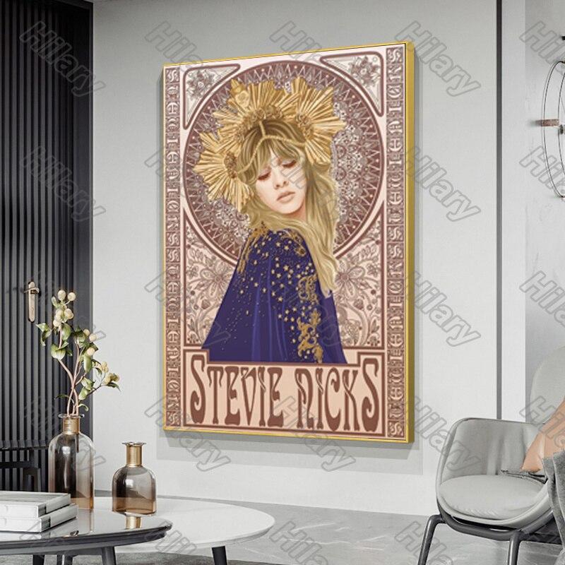 Affiche de toile de style steve Nicks Mucha, peinture murale, décoration de maison, Nature, pour salon et chambre à coucher, sans cadre