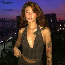 Nibber 2021 katı renk asılı boyun bandaj v yaka kapalı omuz yaz kadın moda Streetwear Backless kolsuz kaşkorse