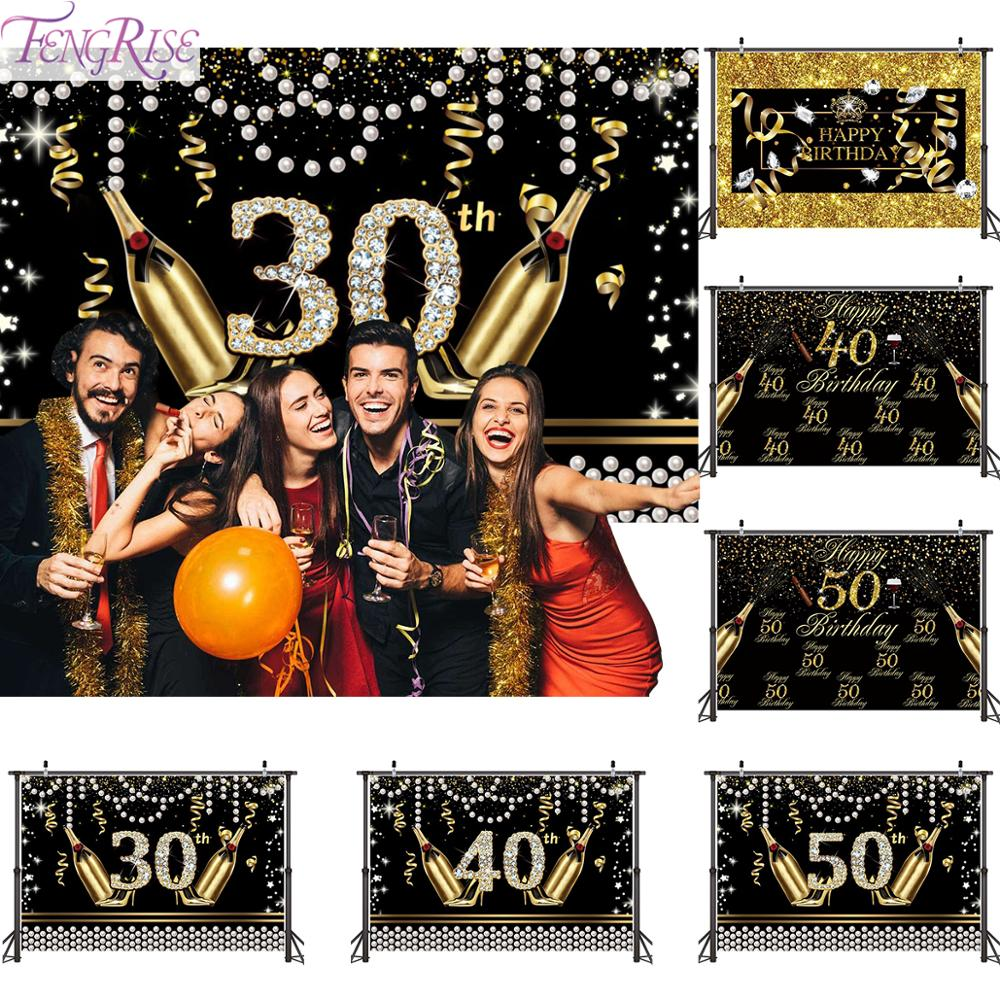 FENGRISE Black Gold Background Cloth 40 50 30 <font><b>Birthday</b></font> <font><b>Party</b></font> Decorations Adult Happy <font><b>Birthday</b></font> 30th 40th <font><b>50th</b></font> Anniversar Decor image