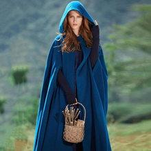 Women Winter Maxi Hooded Cape Coat Vintage Elegant Chic Shawl Loose Long Hooded Cloak Cape Ponchos Womens Wrap Coat