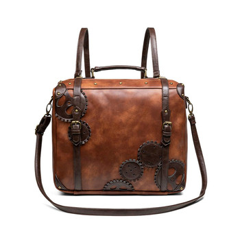 Designer Women's Steampunk Backpack PU Leather Backpacks for Women Gothic Shoulder Bags Motorcycle Waist Durable Trend Pack To4