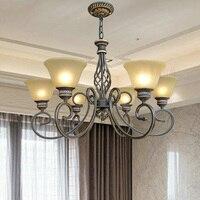 110V/220v E27 Wrought Iron Chandelier Suspension Antique Led Vintage Home Room Decorating Lighting Chandeliers