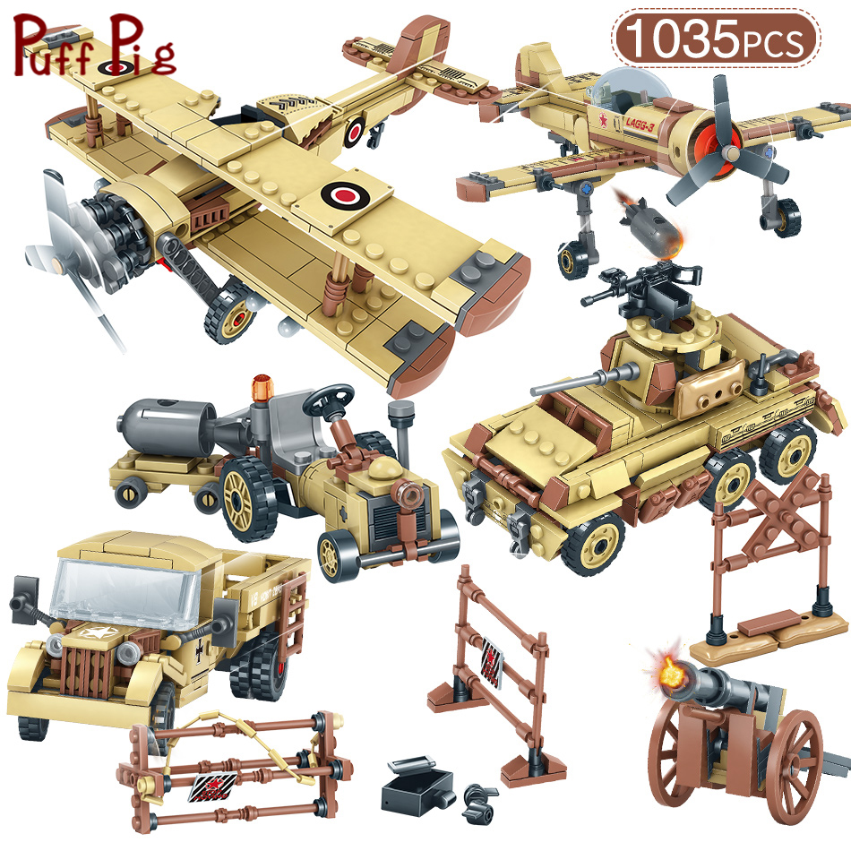 Military World War 2 SWAT Germany Car Plane Helicopter Tank Truck Building Blocks Legoingly Figures Army Brick Toys For Children