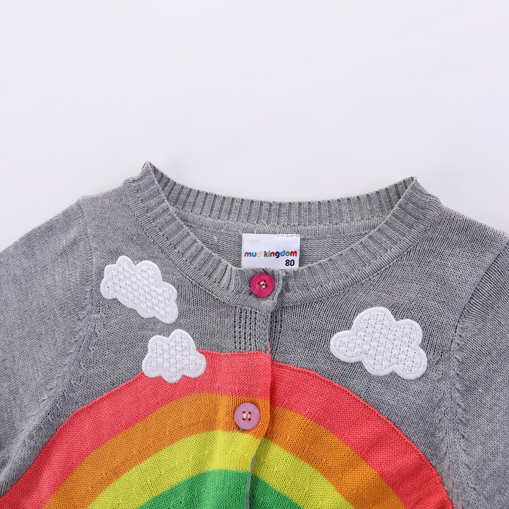 Mudkingdom Girls Boys Knitted Cardigan Sweater Rainbow Clouds Thin Outerwear Tops for Kids 4