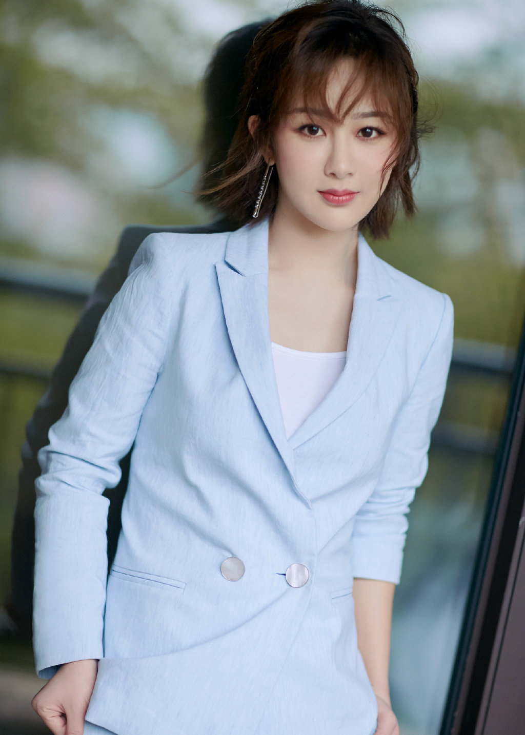 2019 Fall New Same Fresh Blue Suit Two-piece OL Woman Notched Double Breasted Women Coat and Jackets