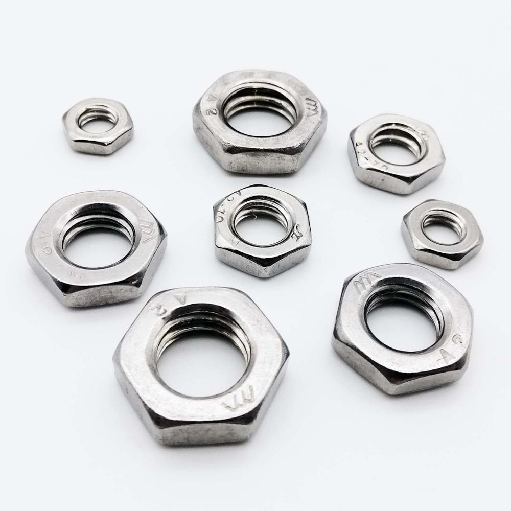 Pack of 100 Hex Jam Nuts M3