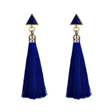 HIYONG Bohemian Tassel Crystal Long Drop Earrings for Women Red Cotton Silk Fabric Fringe 2019 Fashion Woman Jewelry