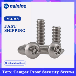 [M3 M4 M5 M6 M8 M10] 304 Stainless Steel Torx Button Head Tamper Proof Security Screws A034