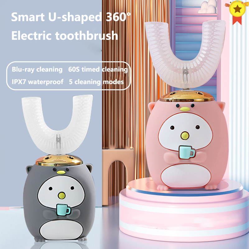 Умная Автоматическая звуковая U-образная Электронная зубная щетка 360 градусов, USB перезаряжаемая детская зубная щетка XaoMi с мультяшным рисун...