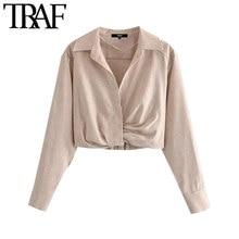TRAF moda damska z plisami lniane przycięte bluzki w stylu Vintage z długim rękawem boczny zamek błyskawiczny elastyczny brzeg koszule damskie elegancki Top