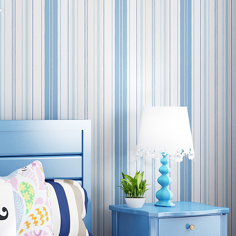 Mediterranean Blue Vertical Striped Non-woven Wallpaper Living Room Bedroom TV Background CHILDREN'S Room Wall-to-Wall Pink Wall