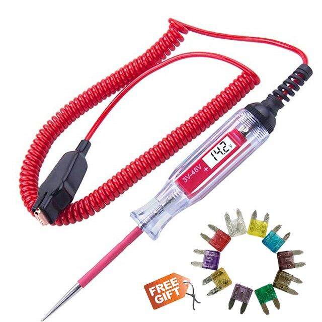 Probador de circuito LCD Digital para coche y camión, herramienta de diagnóstico de 3 48V con cable de 11 pies, bolígrafo de prueba de voltaje y sonda de lámpara