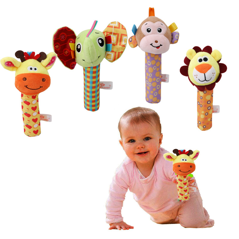 New Hand Bell Infant Baby Plush Rattle Mobile BB Bar Toy Stick Soft Lion Monkey Doll Baby Crib Animal Toy Handbell Birthday Gift