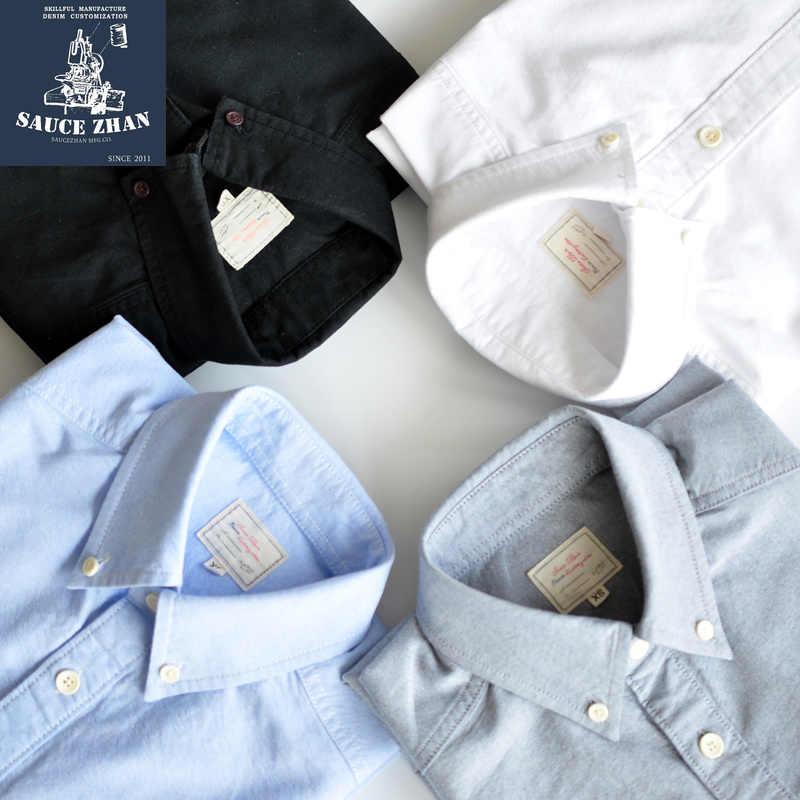 SauceZhan Originale Shirt Vintage Camicia di Cotone Della Camicia Degli Uomini Della Camicia slim mens camicie da uomo camicia a maniche lunghe In tessuto Oxford degli uomini della camicia