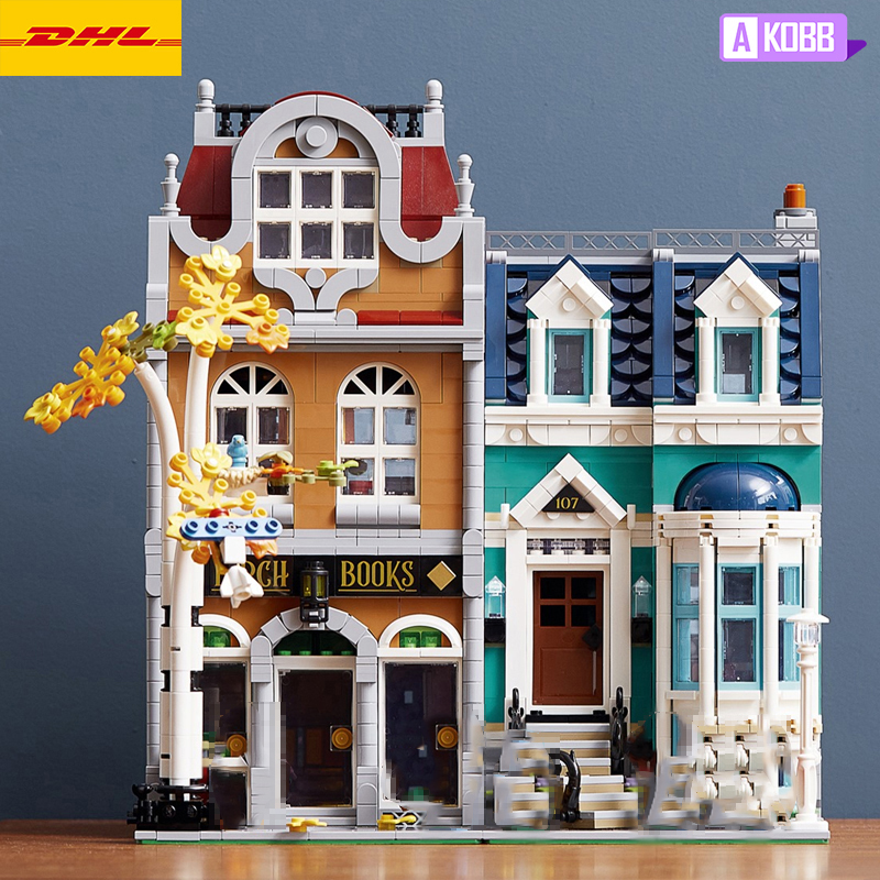 New city street view Building blocks bookshops <font><b>10270</b></font> bricks DIY Toys for boys and girl birthday gifts image