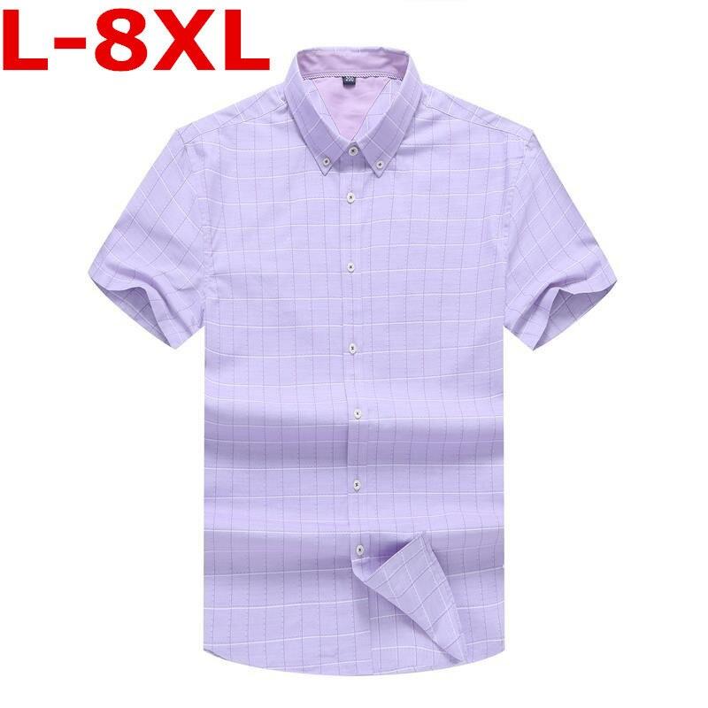 9xl Plus Size 7XL 8XL 6XL  Summer New Men Shirt Fashion Plaid Printing Male Casual Short Sleeve Shirt  Brand Men's Clothing