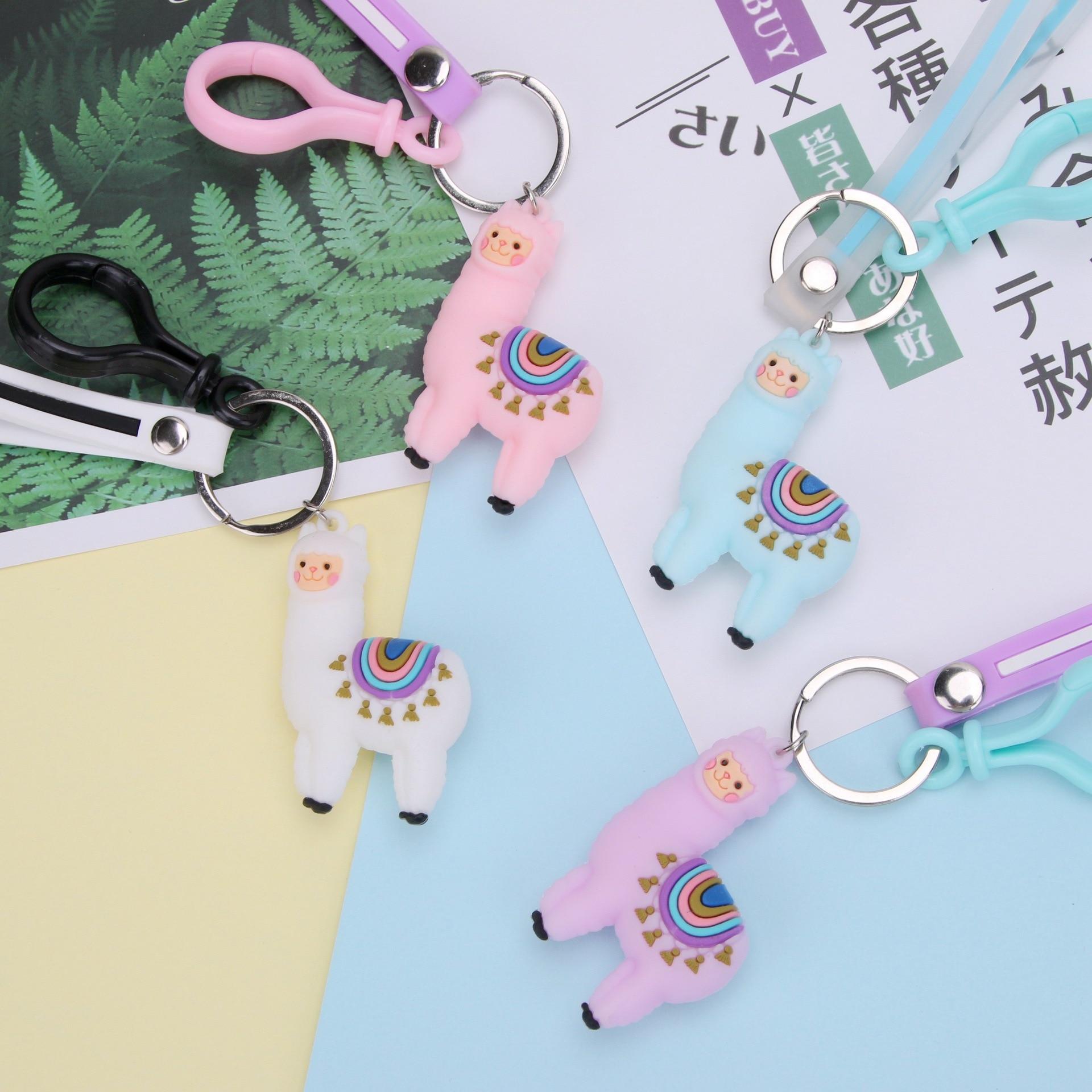 2020 Fashion Cute Keychains Lamb Resin Alpaca Charm Landscape Creative Accessories Key Chain Pendant DIY Key Ring