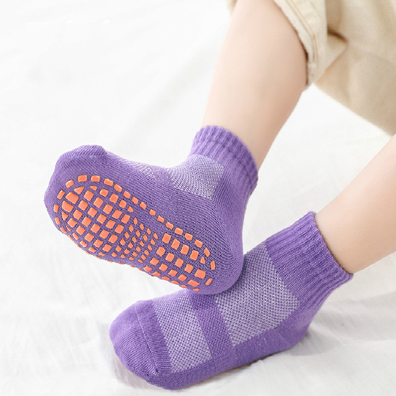 1 Pair Cotton Solid Color Anit Slip Kids Sports Socks Boys Girls Short Ankle Socks 1-10 Years Old Children Warm Socks
