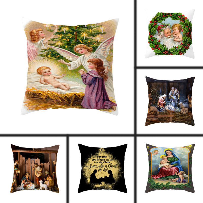 1pcs 45x45cm Christmas Jesus Christianity Pillow Peach Skin Decorative Pillowcases Waist Pillow Cover Decorative Pillows Cover