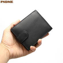 PNDME vintage men's genuine leather wallet casual simple high quality cowhide black hasp multi-card credit card short purse