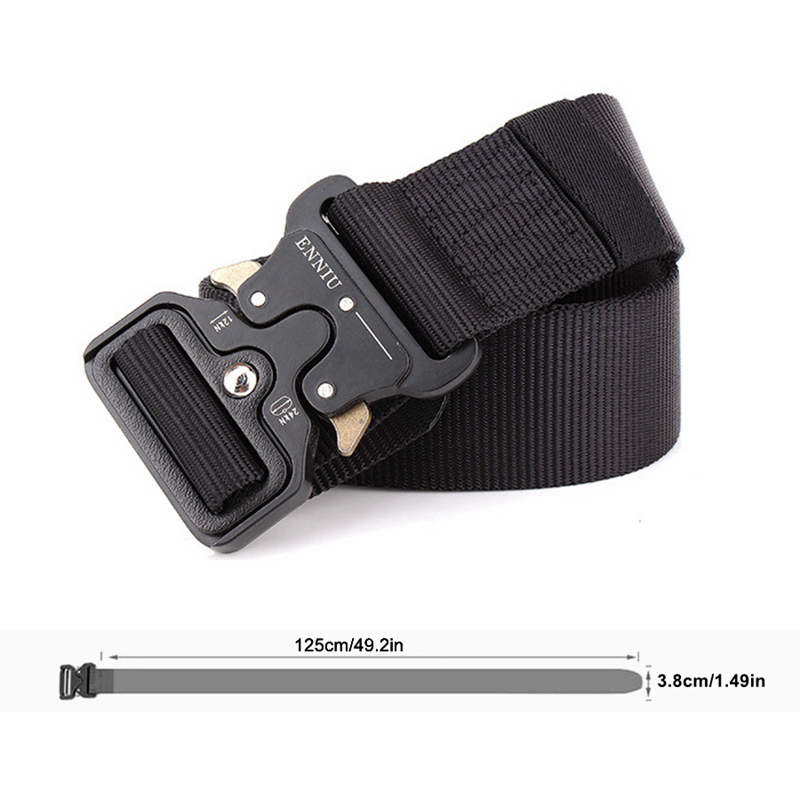 H2bec74d9de554a3884e2b1077baf7e00P - Army Tactical Belt Military Black Metal Buckle Adjustable Length Outdoor Multi-functional Training Nylon Belt Accessories