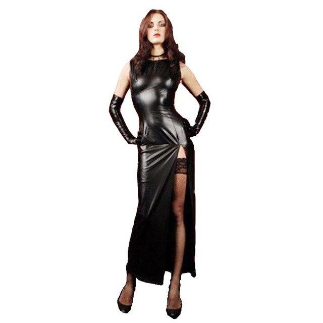 セクシーな女性フェイクレザースプリットロングドレスと肘の長さの手袋 Wetlook 愛人フェチ再生キャットウーマンの衣装