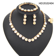 Yulaili 2019 Classic African Jewelry Sets for Women Rhinestone Round Shape Gold Color Necklace Earrings Bracelet Ring Wholesale a suit of stylish rhinestone irregular wave necklace bracelet ring and earrings for women