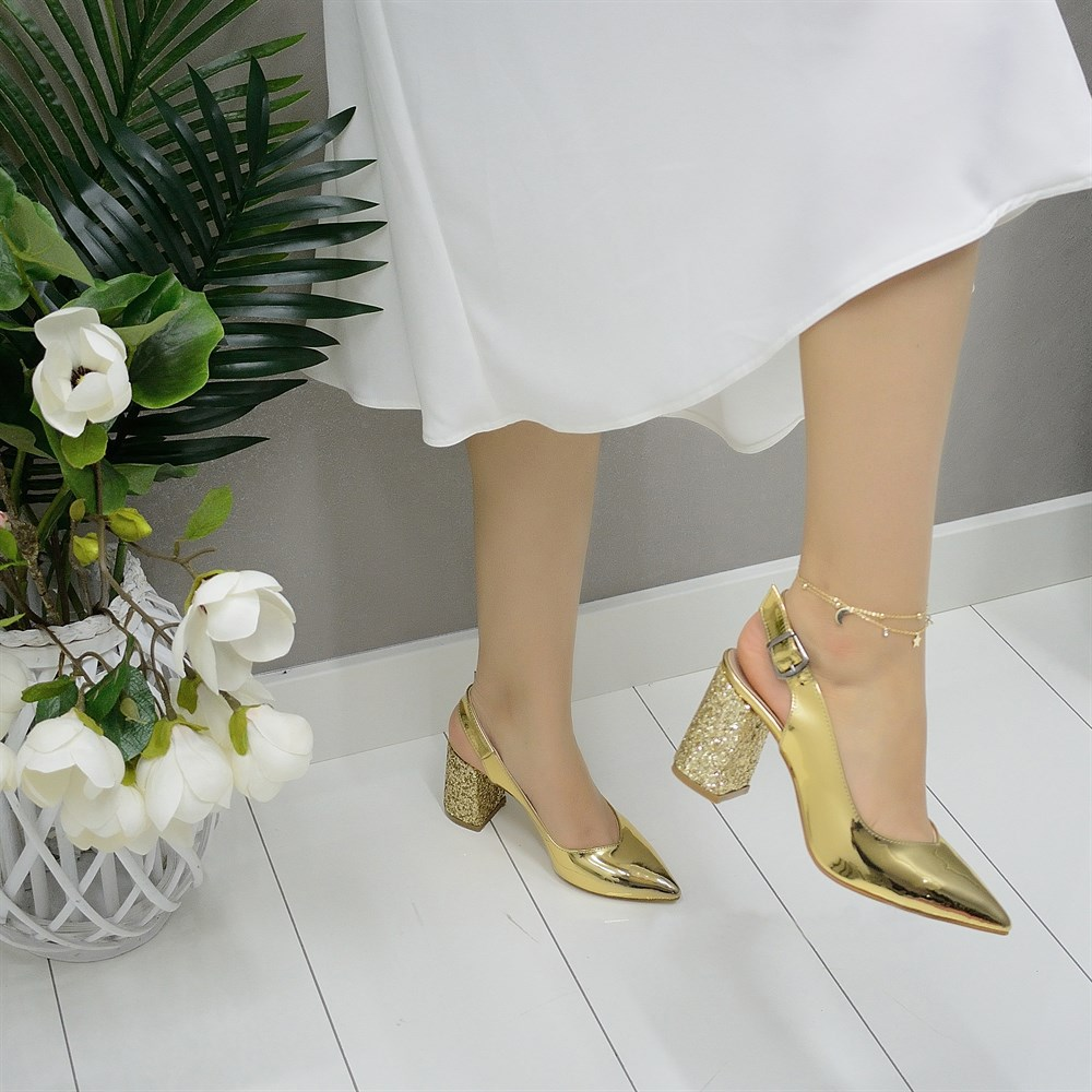 Mst-028 Gold Mirror Women High Heels Brand Women Pumps Shoes Pointed Toe Buckle Strap Summer Sexy Party