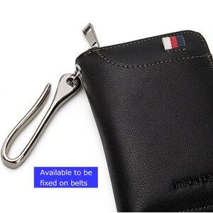 Image 5 - بيسون الدنيم جلد طبيعي مفتاح المحفظة الذكور بطاقة المفاتيح غطاء سستة حامل بطاقة محفظة مفاتيح المنظم سعة كبيرة N9462