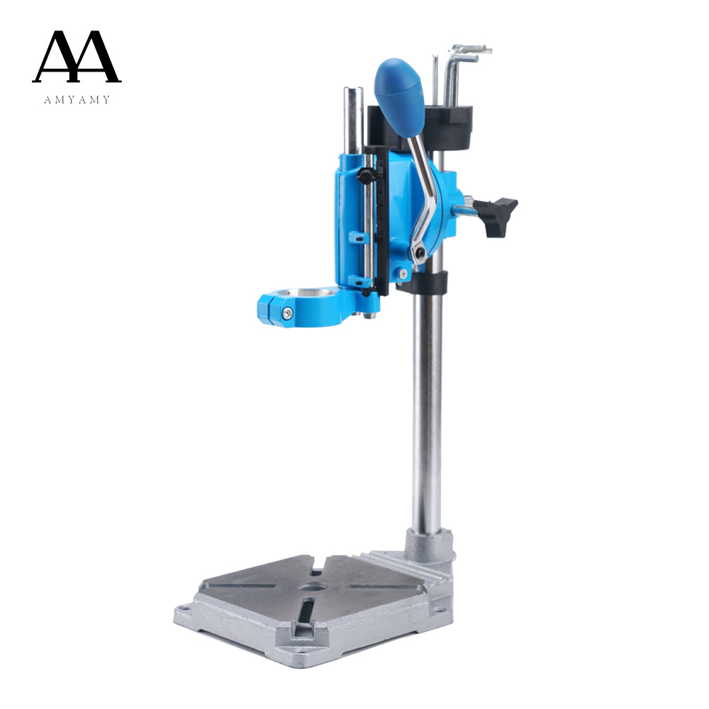 AMYAMY Drill Press Stand Bench For Electric Power Drill Iron Base Workbench Clamp For Drilling Collet 38 43mm 90 Degrees