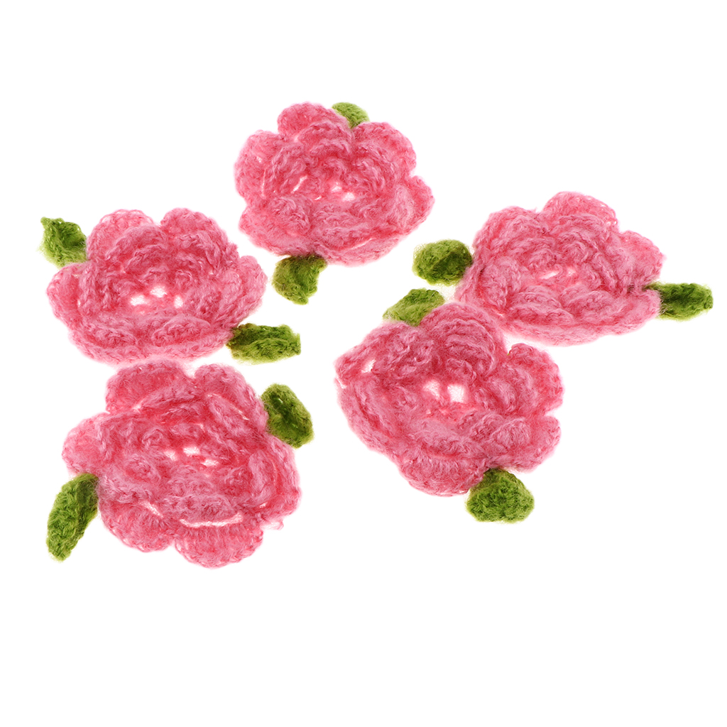 Pack of 5pcs Handmade Sew on Appliqued Crochet Knitted Flowers Applique DY