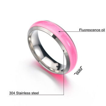 Novelty Stainless Steel Luminous Rings Stainless Steel Noctilucent Tabs Men Ring anillos mujer bague femme 2