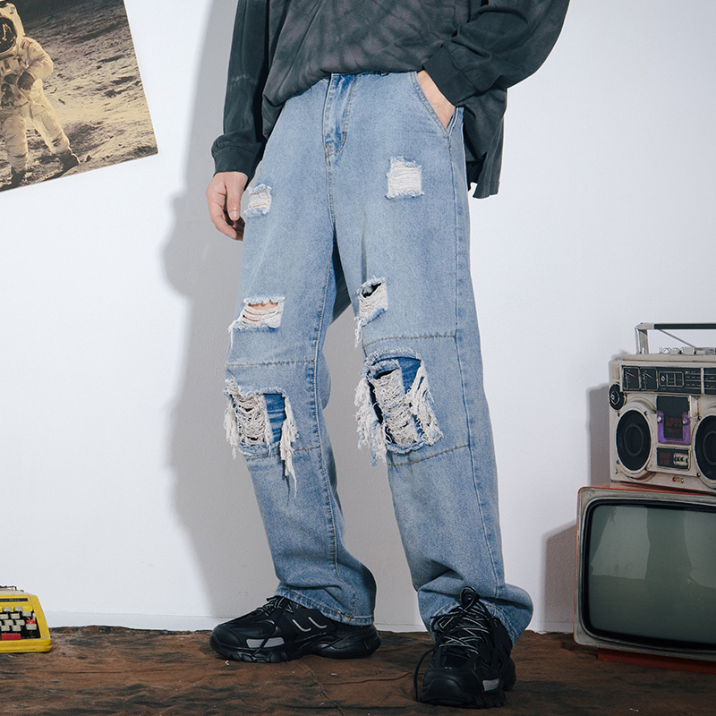 Harajuku Ripped Wide Leg Jeans For Mens Womens Blue Distressed Jeans Trousers With Patchs Male Streetwear Hip Hop Denim Pants