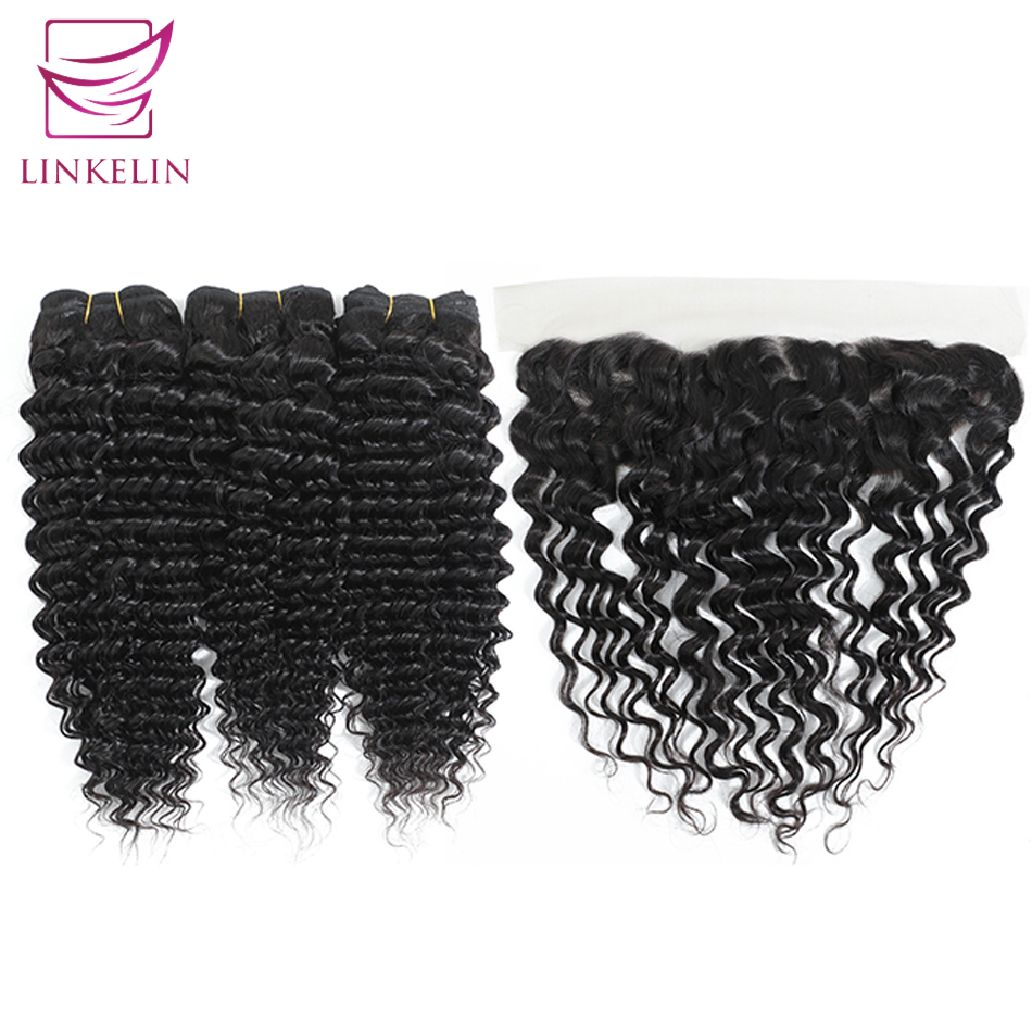 LINKELIN HAIR Deep Wave Bundles With Frontal Remy Human Hair Bundles With Frontal 13*4 Pre Plucked Peruvian Hair Weave Bundles