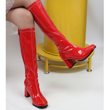 цена на Chunky Square Heel Knee High Boots PU Leather Female Women's Shoes High Heels Side Zip Dance Boots Unisex Plus Size