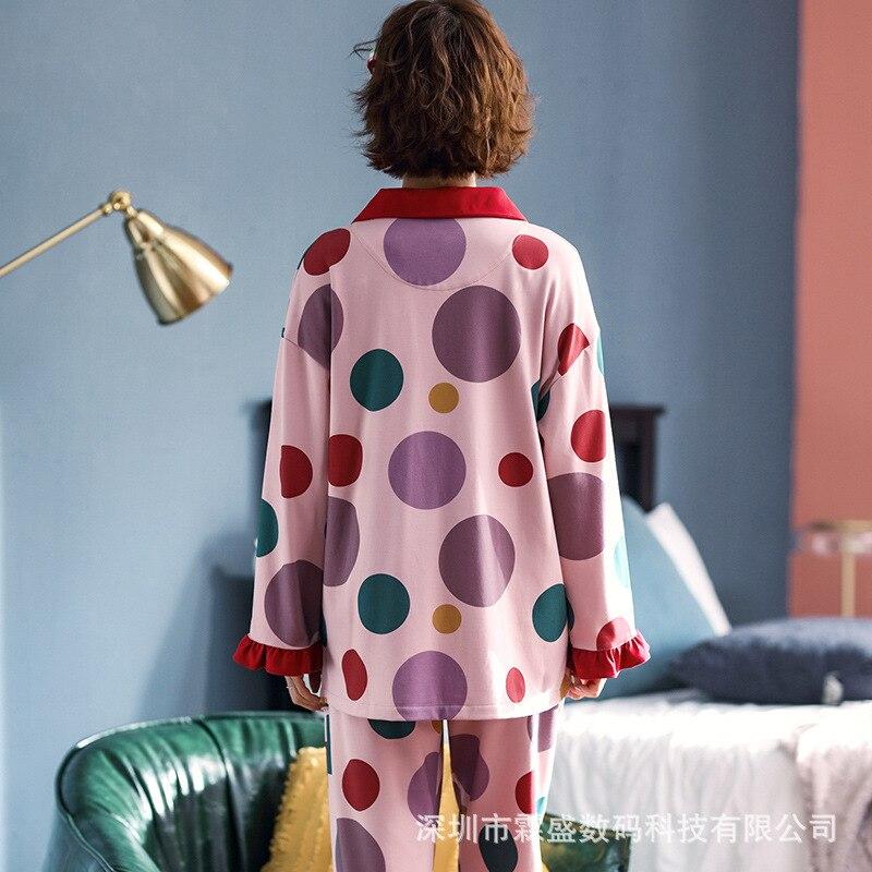 Pure Cotton Pajamas Women Korean Fashion Long-sleeved Two-piece Set Autumn Wide Home Clothing Set. Pijama Sleepwear Women Set