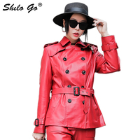 Genuine Leather Trench Multicolor Elegant Double Breasted Wrap Belted and Cuff Coats Women Autumn Office Lady Solid Outwear Coat