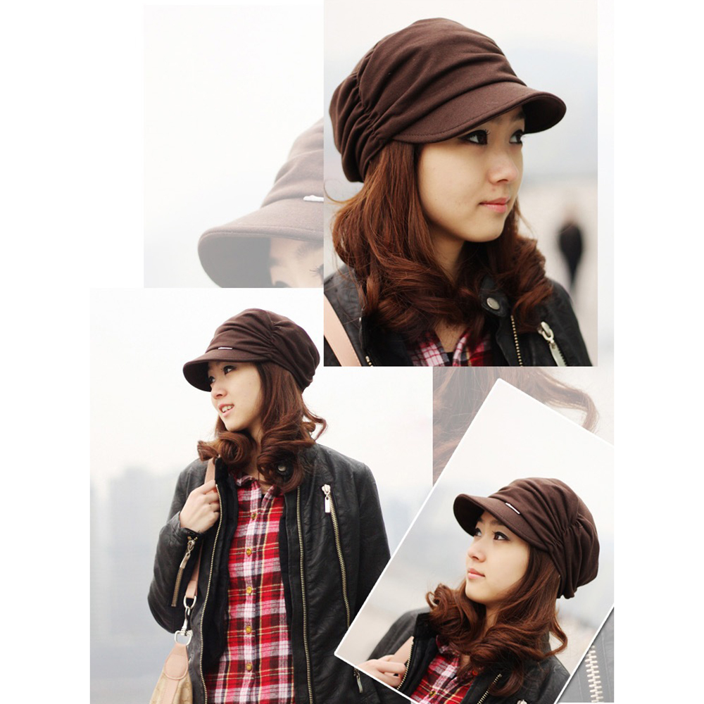 Newly Men Women Knited Autumn-Winter Hat Pleated Newsboy Cap Warm Outdoors Visor Skull Brown Cotton Casual 2019 Hot Selling