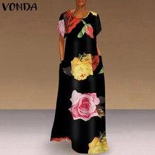 Kadın Kaftan elbise elbise VONDA yaz Bohemian Sundress Vintage çiçekli baskılı parti kadın kısa kollu uzun Maxi Vestido S-5XL