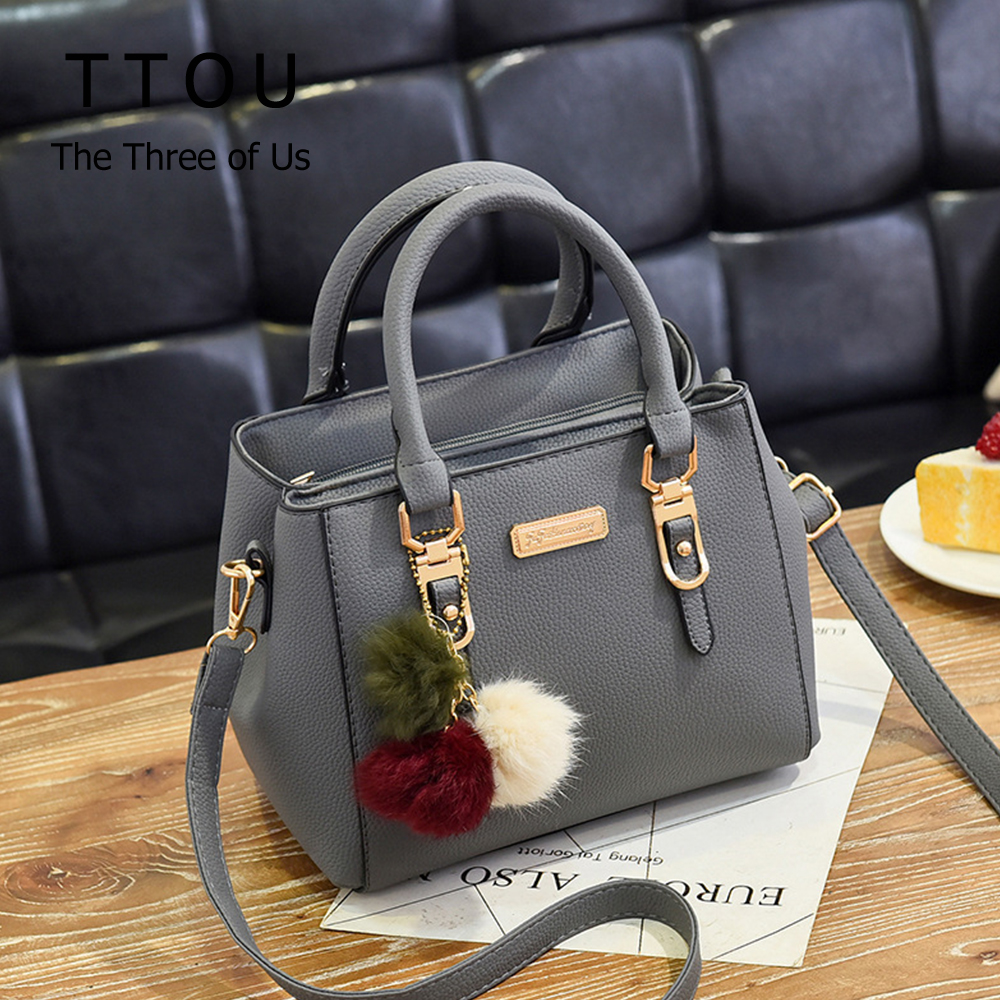 Casual Quality Pu Leather Women Handbag With Hair Ball Female Shoulder Bag Fashion Tote Bag Ladies High Capacity Messenger Bag
