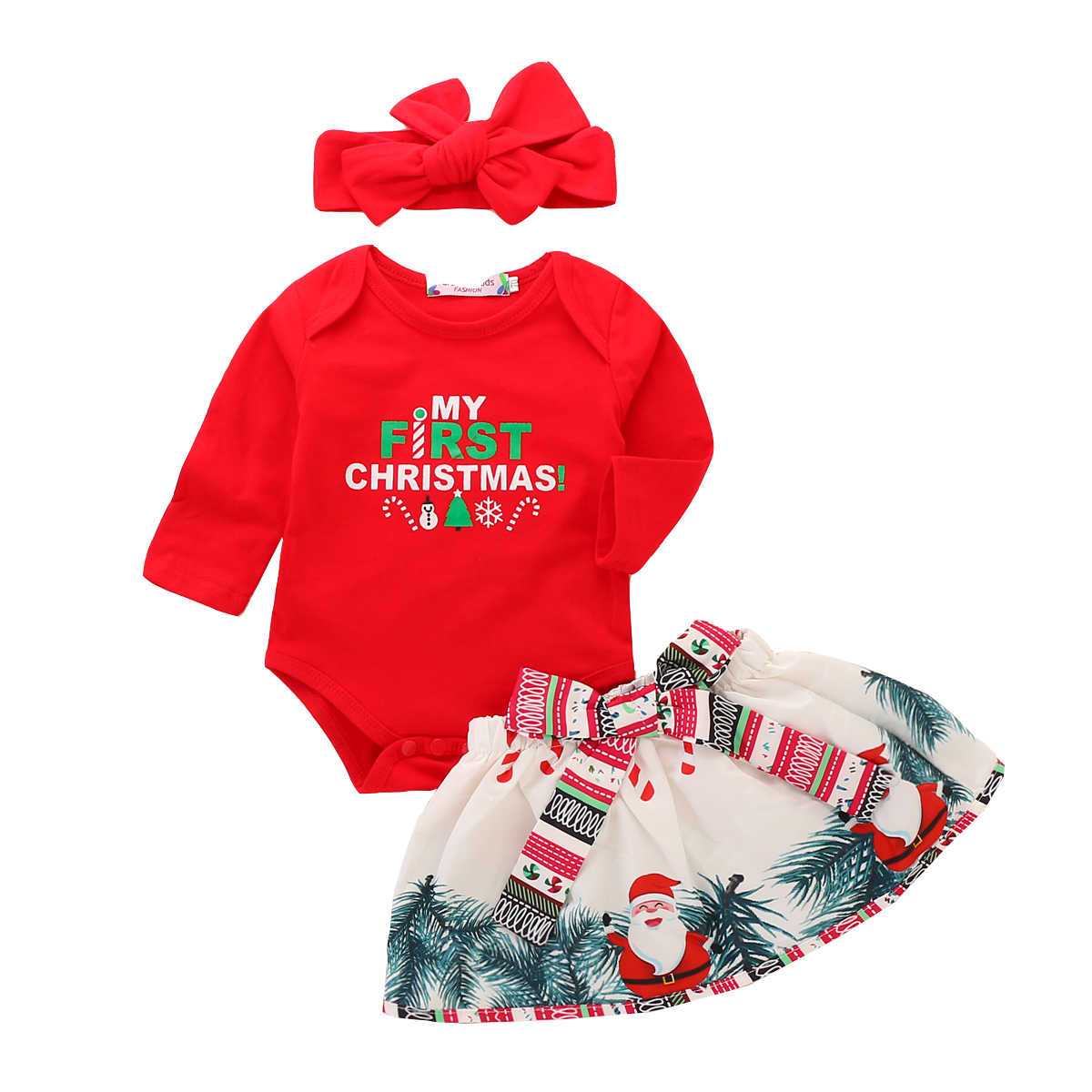 My First Christmas Girl Fall Clothing Baby Girl Clothes 3Pcs Letter Print Bodysuit+Bow Skirt+Headband Baby Christmas Outfits D50