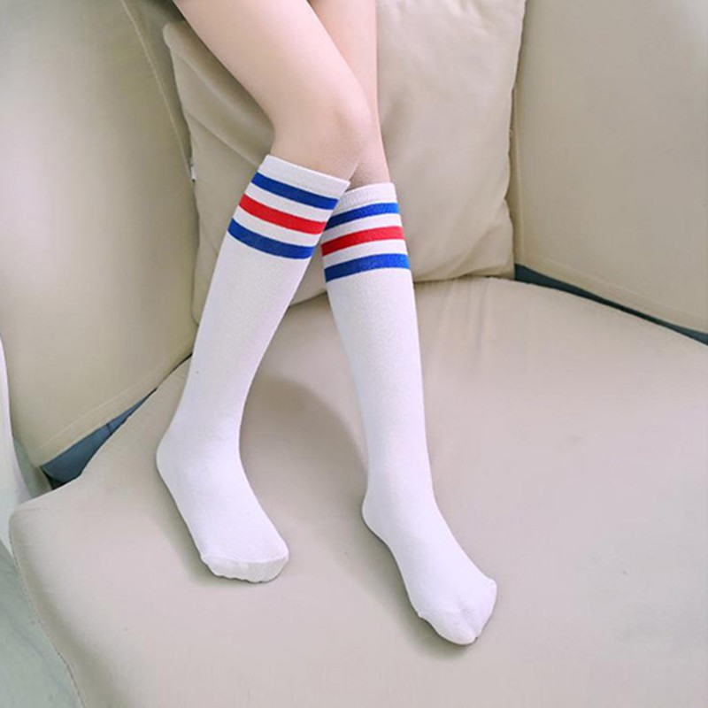 Girls Boys Football Strips Cotton Old School White Sport Socks Kids Knee High Socks Soccer Boots Children Baby Long Leg Warmer