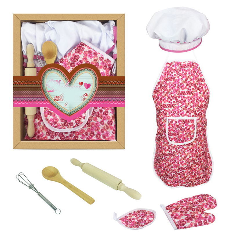 Kids Simulation Kitchen Toys Baby Girl Baking Tools Kids Apron Kitchenware Dress Up Chef Costume Role Play Free Shipping