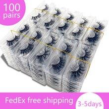 Atacado 100 pares maquiagem cílios 3d vison cílios macio macio macio volume natural longo cruz cílios postiços reutilizáveis
