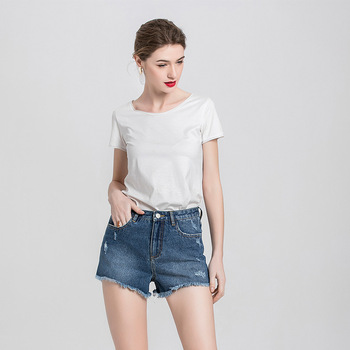 Denim Shorts Women's White Women Short Jeans Khaki Wide Leg Elastic Waist Vintage High Waist Shorts Women Summer цена 2017