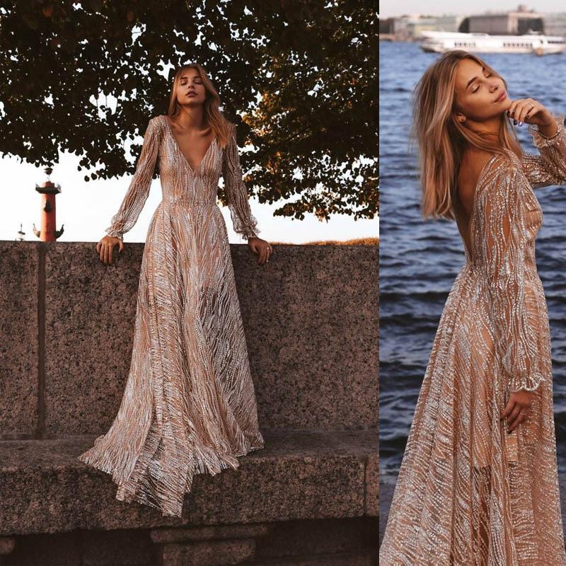 BacklakeGirls 2019 Sexy V Neck Long Sleeve Beach Dress Sweep Train Sequined Long Evening Dresses Vestidos De Fiesta Largo